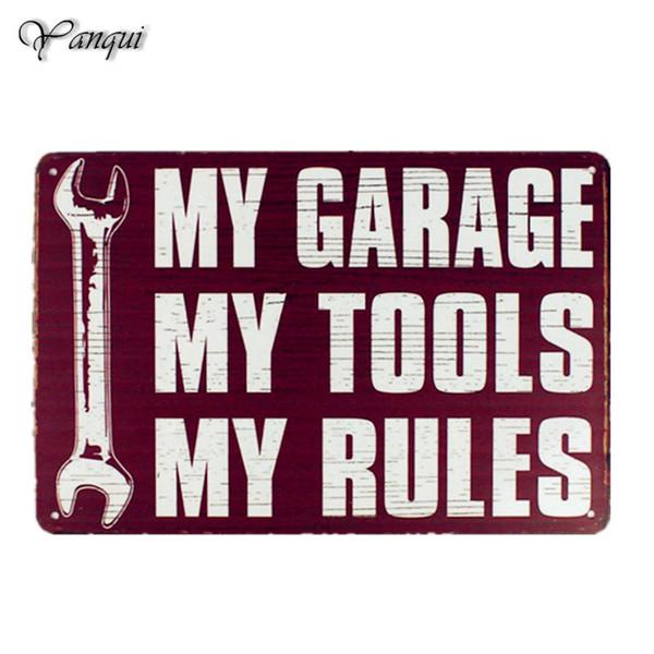 Mon Garage Mes Outils Règles Autocollant Mural Décor À La Maison Rétro Vintage Vintage En Métal Signes Affiche de Gas-oil De Voiture Pour Man Cave Store
