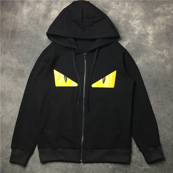 Autumn and Winter Sweatshirt Leather Patent Leather Yellow Eyes Cardigan Hoodies Men and Women Couple Lovers Hooded Jacket Size S-XL