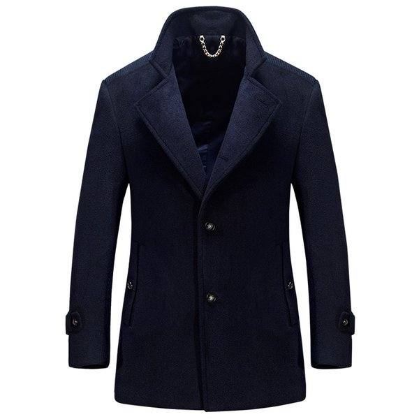 Long Jackets Wool Coats Men Winter Business Blend Suit Collar Long Sleeve Solid Color Wool Trench Coat Men Peacoat Plus Size 4XL