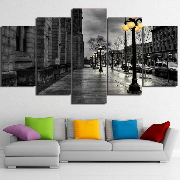 5 Panels,Black White Wall Art London City Streetscape Canvas Oil Painting HD Print Wall Art Decor for Living Room Decoration Framed/Unframed