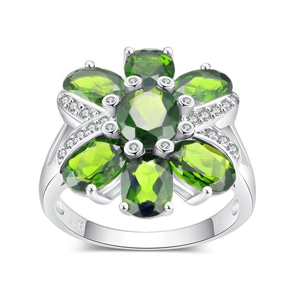 Pjc натуральный драгоценный камень 8*67 * 5 мм 6.60 cts овальной формы хром диопсид с 0.25 cts Белый Циркон 925 стерлингового серебра кольцо