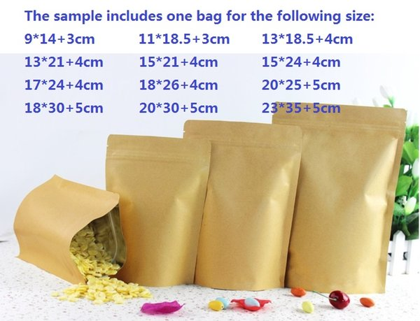 sample of Moisture-proof Kraft Paper with Aluminum Foil Lining Stand UP, Ziplock Bag for food 13pcs in total ipc for each size free shipping