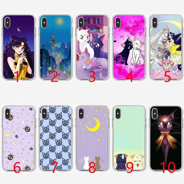 Sailor moon luna and arthemis Soft Silicone TPU Phone Case for iPhone 5 5S SE 6 6S 7 8 Plus X XR XS Max Cover