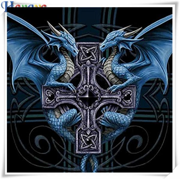 Diy elmas boyama çapraz dikiş kiti taklidi mozaik ev dekor hediye hayvan mavi ejderha tam squareround elmas 5D nakış AA0423