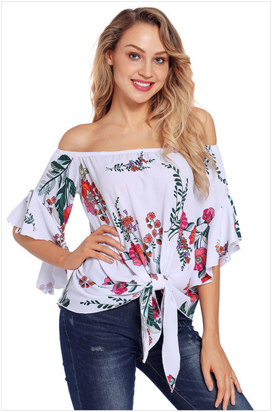 Womens Slash Neck Tops US Size Retro Floral Printed Blouse 3 Colors Tied Bottom Designs Sexy Blouse Free Shipping Female Tops