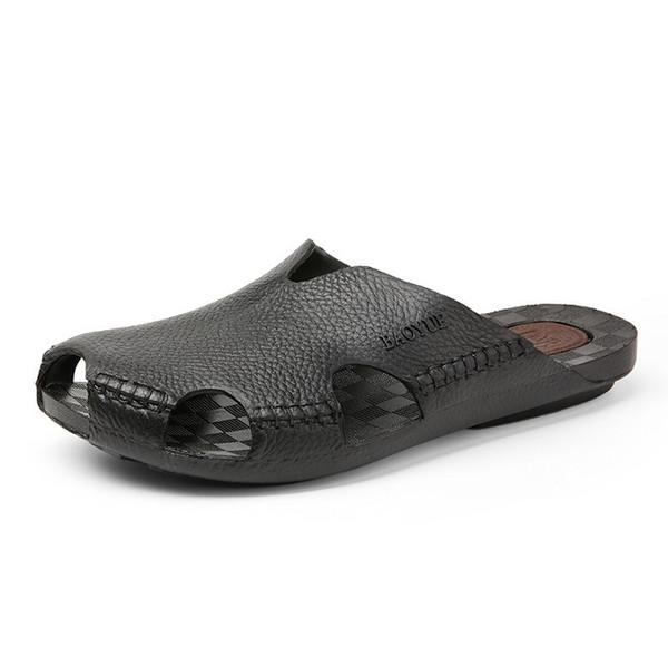 New Arrival Summer Cool Leather Breathable Men Flip Flops Korean Style Male Slipper Non-slide Male Handmade Slippers Q-43