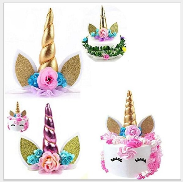 New 1set Handmade Pink Unicorn Party Cupcake Decoration Happy Birthday Party Flag Baby Children Party Decor Cake Decor