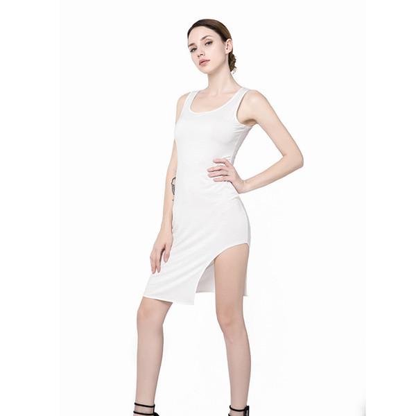 Сарафан женщины Bodycon платья высокой талией мини-платья без рукавов Сплит Белый повседневная жилет платье для лета