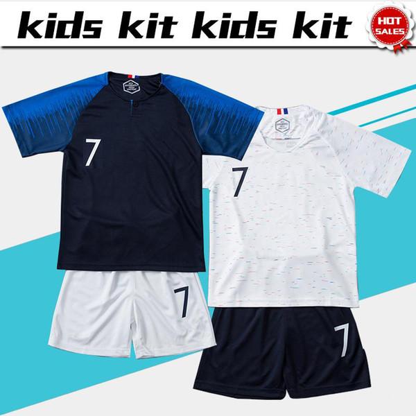 Dos estrellas 2018 copa del mundo # 10 MBAPPE fútbol Jersey Kids Kit # 7 GRIEZMANN casa Soccer shirt # 6 POGBA lejos Child Soccer uniforme jersey + shorts