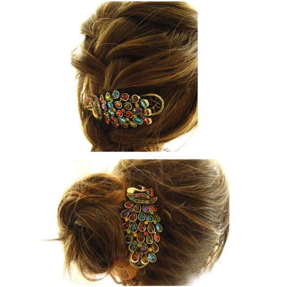 Women's Beauty Vintage Colorful Crystal Rhinestone Peacock Hair Pin Hair Clip Free Shipping
