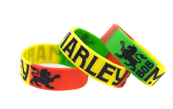 50pcs Bob Marley multicolour Silicone Wristbands Bracelets Fashion Jewelry