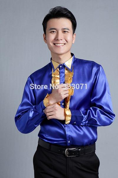 2015 New Royal Blue Long-sleeved Men Shirt Wedding/Prom Groom Shirts performance Wear Bridegroom Man Party Shirt (39-44)