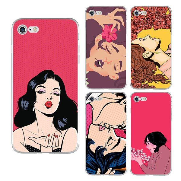 Soft TPU Fashion Girl Painted Phone Case For iPhone X 8 7 6 6s plus 5S Samsung Galaxy S7 Edge S8 S9 Plus Note 8 Silicone Back iphone Cover