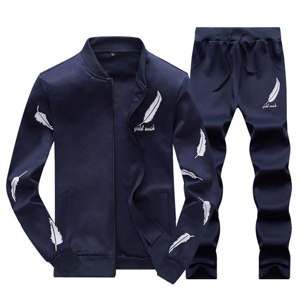 New Sportswear Men Spring Autumn Set Long Sleeve Sweat Suits Hoodies Tracksuit Sweatshirt Trousers jacket + Pants Exercise