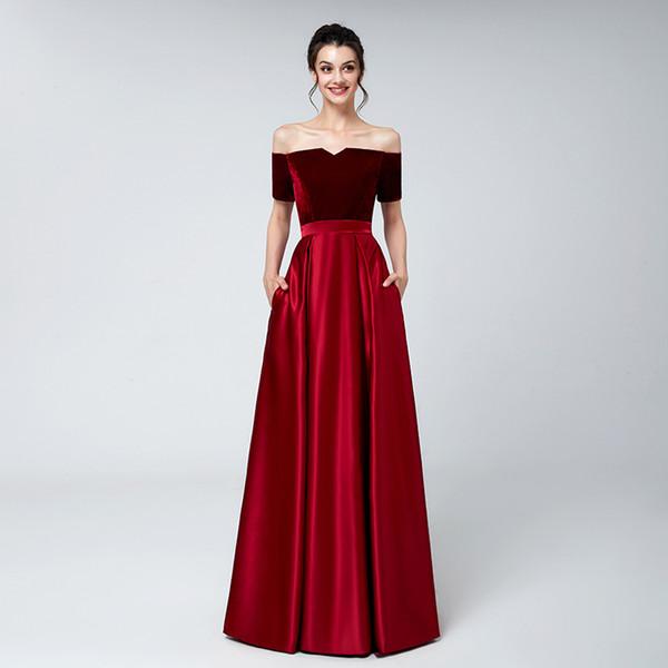 2018 Real red Velvet Abendkleider plus Schulterfrei kurze Ärmel Bateau-Ausschnitt Satin bodenlangen Abendkleid Abschlussball-Abendkleid