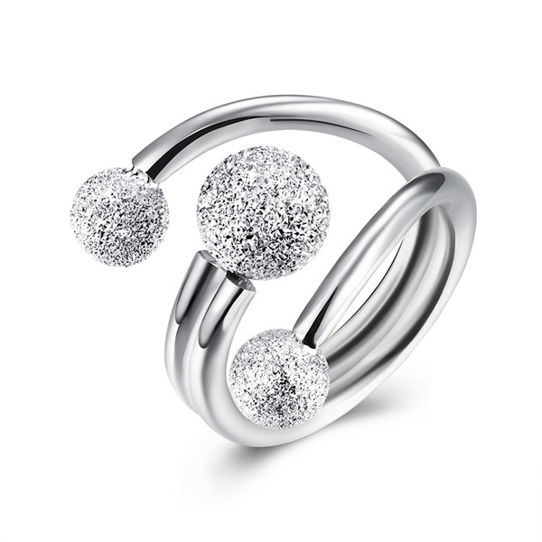 Beat Fashion 925 Sterling Silver Beads Open Ring For Party Aaniversary Prom Double Ring Girlfriend Gift