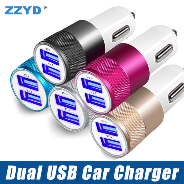 best selling ZZYD Metal Car charger Aluminium Alloy 2.1 A Dual USB port High quality charging Adapter For Tablet Samsung Galaxy S8 mobile phone