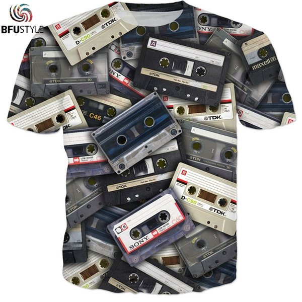 Audio Tape Star Printed Funny Tshirt Men Womens O-Neck Casual T-Shirts Short Sleeve Pullover Tee Tops Fitness Shirt Male Homme
