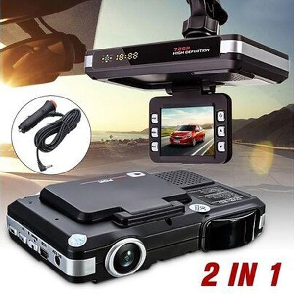 Nouveau 2 en 1 voiture DVR vue arrière caméra détecteur de radar 720p russe / anglais Langue laser Radar Vision nocturne Dash Cam voiture DVR Détecteur de voiture