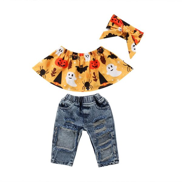 Halloween Kids Baby Girl Set Pumpkin Ruffle Tee Tops+ Ripped Jeans Denim Pants+Headband 3pcs Outfits