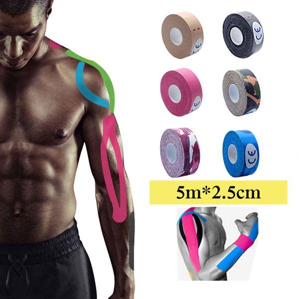 5m x 2.5cm Kinesiologia Nastro kinesio Rullo Adesivo in cotone elastico Adesivo Nastro patch Banda Physio Strain Injury Supporto