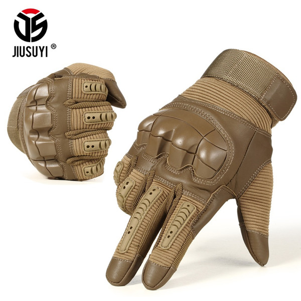 Military Tactical Rubber Hard Knuckle Joint Full Finger Gloves Army Paintball Shooting Airsoft PU Leather Touch Screen Gloves D18110705