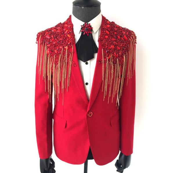 Red men chain suits designs masculino homme terno stage costumes for singers men blazer dance clothes jacket star style dress