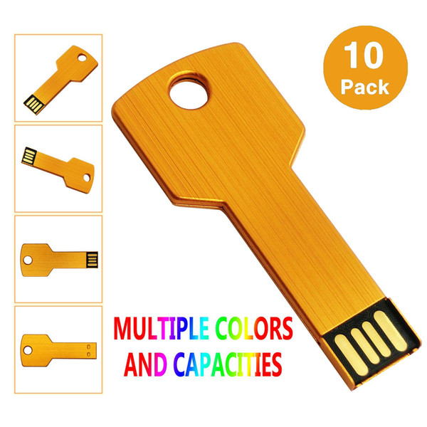 Gold 10PCS/LOT Metal Key 4G 8G 16G 32G USB 2.0 Flash Drives Flash Pen Drive Storage Thumb Memory Stick for Computer Laptop Macbook