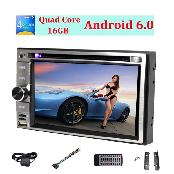 Car Radio Android 6.0 System 6.2'' Multi-Touch Screen car DVD Player 1080P Video Play Car GPS Navigation Map Monitor Steering Wheel