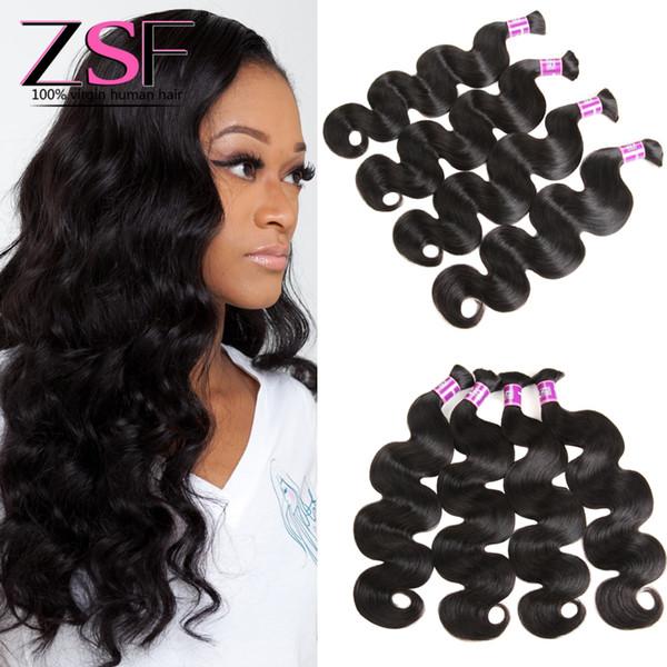 ZSF 4 Bundles Bulk Human Braiding Hair Brazilian Body Wave Hair bulk 10A Grade 100% Brazilian Virgin Hair Extension