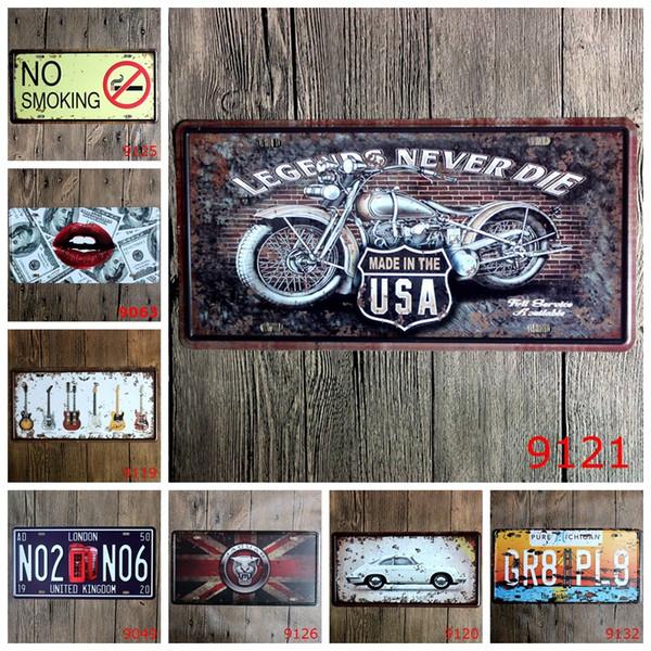 No Smoking Guitar Legends Car Metal License Plate Vintage Home Decor Tin Sign Bar Pub Cafe Garage Decorative Metal Sign Art Painting Plaque