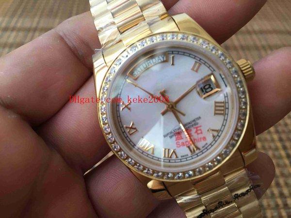 Mode-Armbanduhren Day-Date II 118348 36MM Weißes römisches Zifferblatt 18K Gold Stahl Diamantrand Mechanisch Automatische Damen Damenuhren