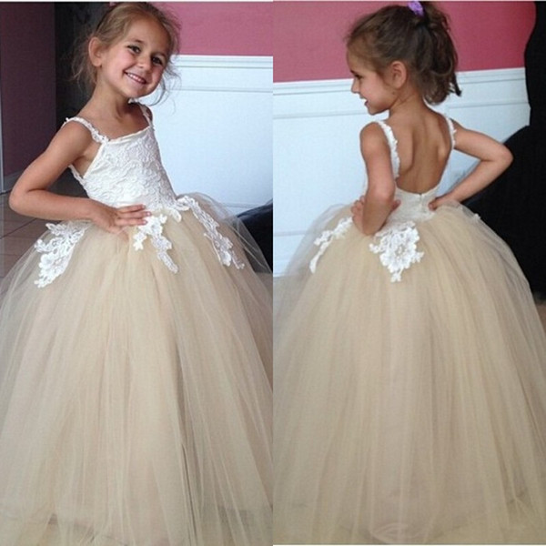 2018 Top Quality Ball Gown Flower Girl Dresses Spaghetti Straps White Lace Appliqued Champange Skirt Vintage Little Girls Wedding Dresses