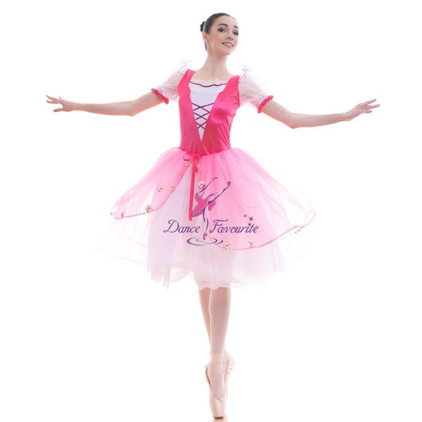 Hot Pink Romantic Ballet Dance Tutus Leotard Dress White Puff Sleeve with Rose Red Satin Bodice Stage Performance Costume 18432
