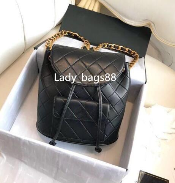 top popular Luxury Top Quality Chain Plaid Women Backpack Genuine Leather Grid Flap Bag Designer Lady Backpacks Shoulder Handbag Back Method Purse 2019