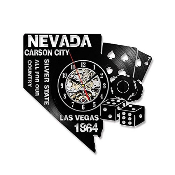 Nevada City Personality Vinyl Wall Clock Modern Home Decor Crafts Creative Handmade Gift Living Room Decoration Wall Art Black Quartz Clock