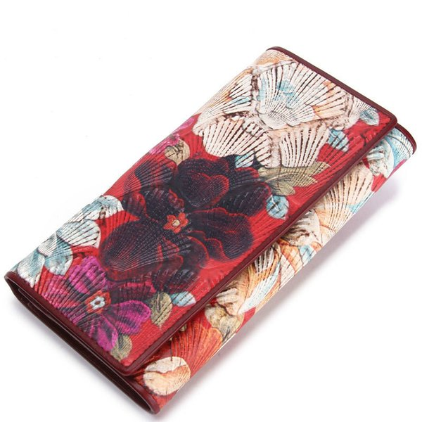 Women's wallet leather shell pattern clutch bag European and American style long section hinge bag multi-function leather wallet