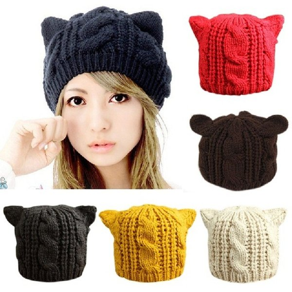 2018 Devil Horns Cat Ears Hat Beanie Crochet Knit Cap Fashion Autumn Women Knitted Woolen Hats Girls Winter Beanies Warm Caps