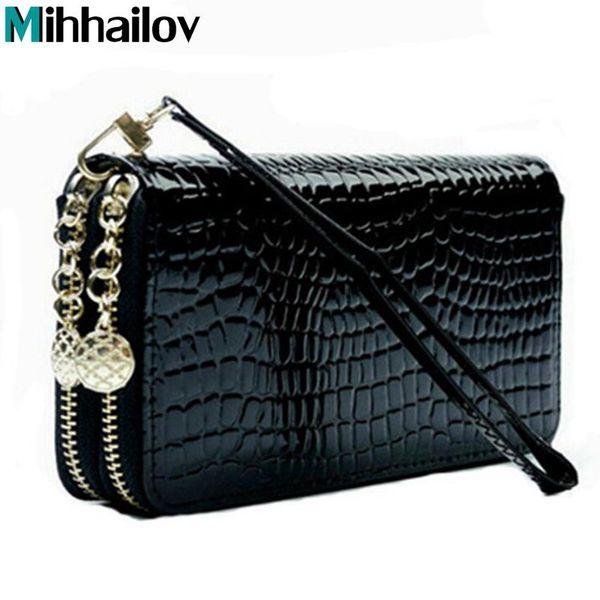 Großhandel Große Kapazität Geldbörse Frauen Lackleder Geldbörsen Weibliche Brieftaschen Luxusmarke Brieftasche Doppel Reißverschluss Tag Kupplung