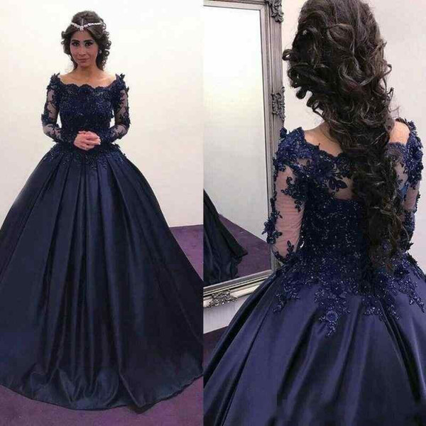 2017 Fall Winter Navy Blue Prom Dresses Long Sleeve Bateau Lace Satin Masquerade Ball Gown Formal Dresses vestidos Party Evening Wear
