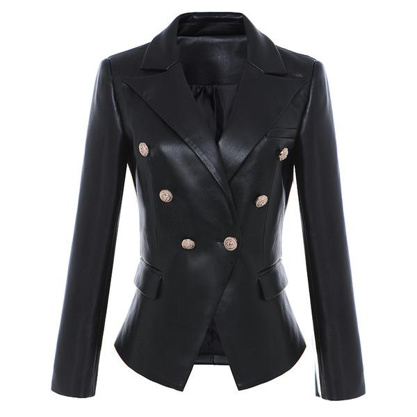 HIGH STREET Newest Baroque Fashion Designer Blazer Jacket Women's Lion Metal Buttons Faux Leather Blazer Outer Coat
