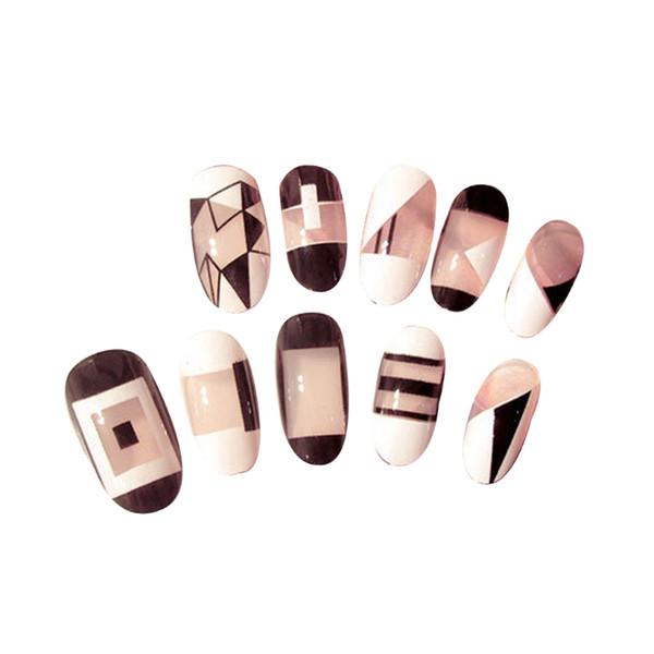 24 Adet Akrilik Tasarımcı Sahte Tırnak İpuçları DIY Fransız Tam Yanlış Nails Art Tırnak