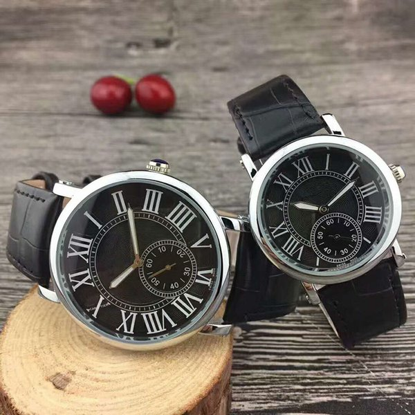 2018 Top fashion brand watch leather watches for man/women black/brown wristwatch free shipping party watches hot sale new model