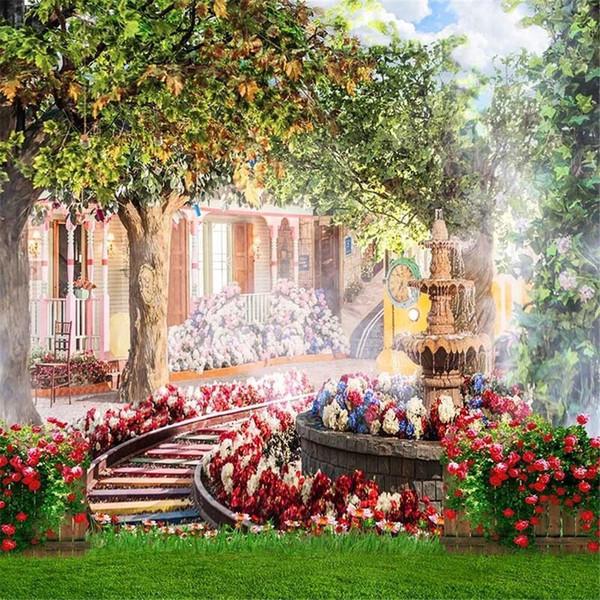 Весенние Цветы Сад Свадебные Фоны для Студии Зеленый Луг Цветочный Фон Дети На Открытом Воздухе Живописные Обои Фотосессия Фонов