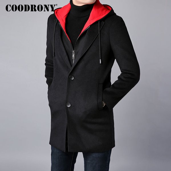 Großhandel COODRONY Männer Mantel Winter Dicke Warme Wolle Mantel Männer Kleidung 2018 Slim Fit Lange Mit Kapuze Jacke Herren Mantel Herren Mäntel