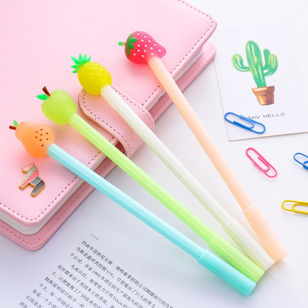 2Pcs / Pack Cute Kawaii Candy Color Gel Ink Pen Lovely Fruit Pen For Kids School Writing Gift Korean Stationery Free Shipping