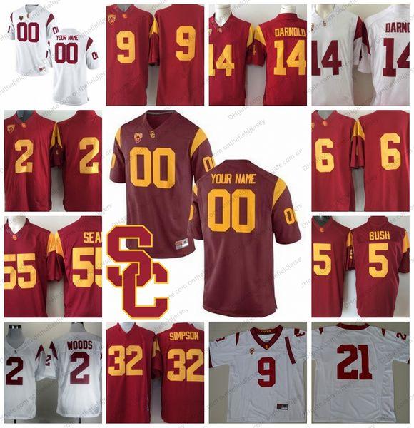 Custom USC Trojans College Football Jerseys Any Name Number #32 Marcus Allen 14 Sam Darnold 9 JuJu Smith-Schuster 47 Clay Matthews S-3XL