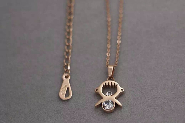 SW-43 Trendy Cute Romantic 4 Color Lucky Clover Pendants Necklaces For Women Girl Rose Gold Exquisite Fashion Birthday Festival