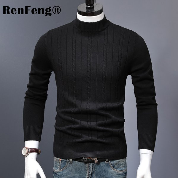 Korean Stretched Thick Warm Men Turtleneck 2018 Winter Mens Sweaters Pullovers Knit Long Sleeve Cashmere Sweater Male Jumper Top