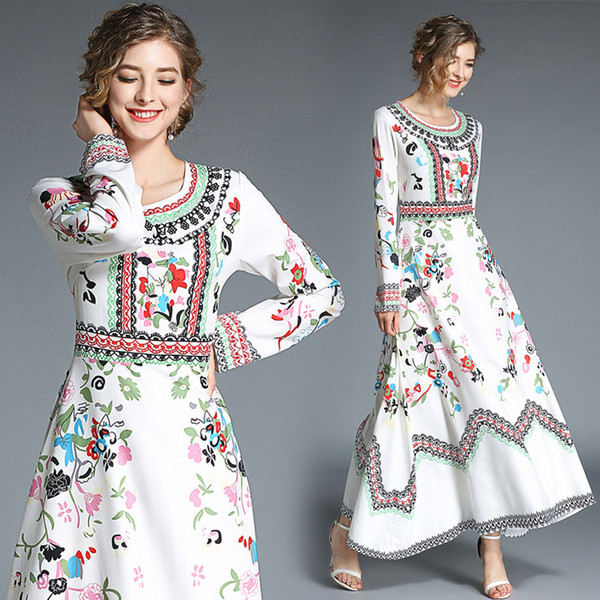 Summer Casual Dresses Party Long Sleeve Evening Prom Gowns High Waist Floral Print White Maxi Dresses